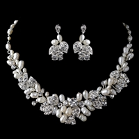 Freshwater Pearl & Rhinestone Floral Necklace Set